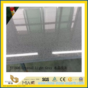 Polished Crstal Light Grey Artificial Quartz Slabs for Countertops (YQC) pictures & photos