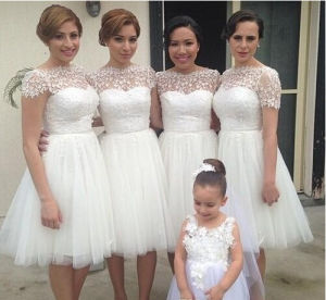 Tulle Evening Cocktail Gowns Short Little White Bridesmaid Dresses Z5076 pictures & photos