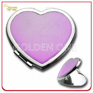 Lady′s Gift Heart Shape Portable Metal Cosmetic Mirror pictures & photos