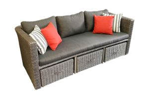 Lounge sofa rattan  China Garden Aluminum Rattan Furniture Lounge Sofa Set with Locker ...