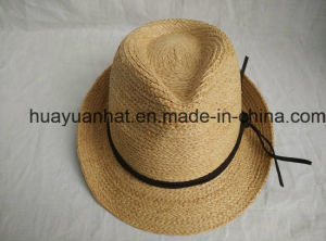 100% Raffia Straw Leisurely Style with Natural Color Fedora Hats
