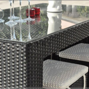 Durable Commercial KTV Combination Casual Furniture Tall Stool Rattan Bar Chair and Table Set pictures & photos