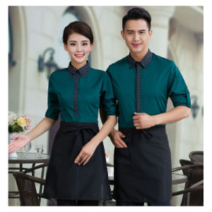 New Design Customized Comfortable Hotel Restaurant Waiter Uniform with Apron pictures & photos