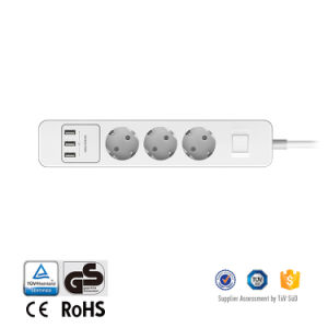 European USB Wall Socket 3 AC Outlets Power Socket 3 USB Charging Ports 5V 2.4A Max pictures & photos