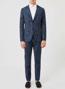 Printed Wool Made to Measure Groom Suit
