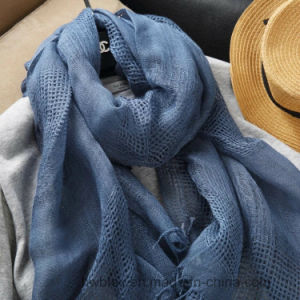 BSCI Factory Top Quality Plain Color Pure Linen Scarf / Shawl with Hollow out (HWBL23) pictures & photos