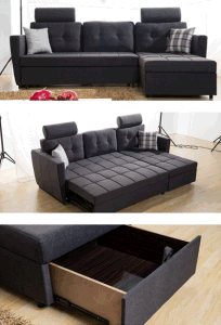 Fabric Corner Sofa with MDF Drawer pictures & photos