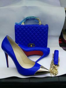 Gold Metal Toe High Heel Shoes and Matching Handbags (G-13) pictures & photos