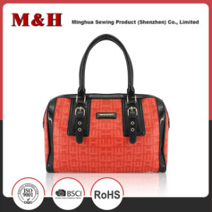 PU Satchel Red Shoulder Shopping Leather Women Travel Handbags pictures & photos