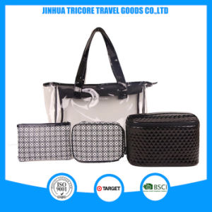 2015 Wholesale Good Quality Transparent PVC Tote Bag Set Cosmetic Bag pictures & photos