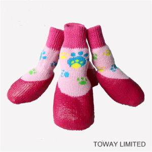 PVC Non-Toxic Pet Products Waterproof Non-Skid High Dog Socks pictures & photos