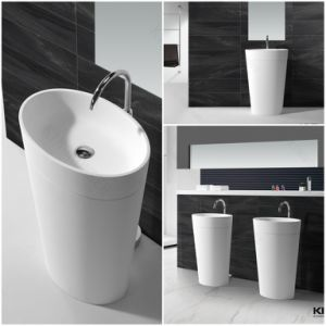 Round Solid Surface Stone Pedestal Freestanding Wash Basin (B170420) pictures & photos