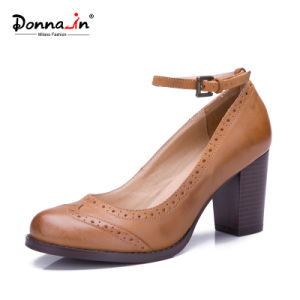 2017 Lady Brogue Leather High Heels Pumps Women Casual Shoes