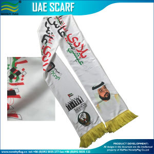 120GSM Knitted Polyester National Day UAE Scarf (J-NF19F10031) pictures & photos