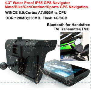 New 5.0inch Waterproof IP65 Car Moto Bike Portable GPS Navigation Built-in GPS Navigation Receiver, 800*480pixel Touch Panel, Bluetooth; FM Transmitter GPS-5060 pictures & photos