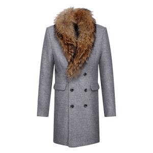 Fur Coat with Raccoon Fur on Collar Men Long Style