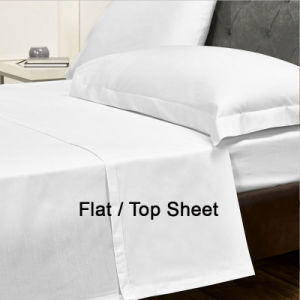 Plain White Cotton Flat/Top Sheet Set for 4 Star Hotel pictures & photos
