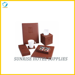 Hotel Brown Leather Set Guestroom Leather Items pictures & photos