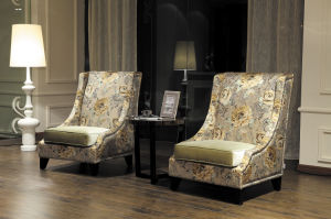 Hot Sale Cheap Hotel Arm Chair with Stool pictures & photos