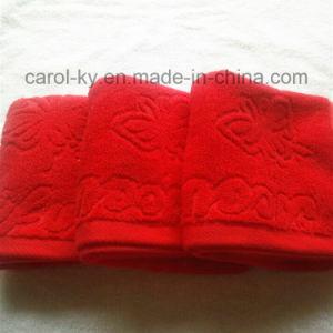 Color Cotton Jacquard Woven Embossed Logo Bath Towel pictures & photos