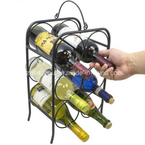 6 Bottle Tabletops Freestanding Metal Storage Wine Holder Rack pictures & photos