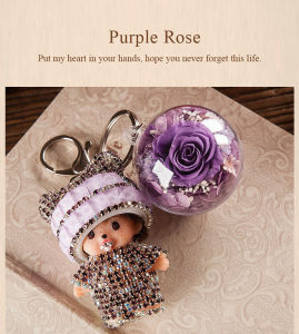 Ivenran Preserved Fresh Flower Monchhichi Keychain for Gift and Decoration pictures & photos