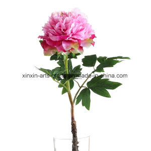 Real Touch Fake Peony Artificial Flowers with 3sets of Leaves&Lifelike Stem