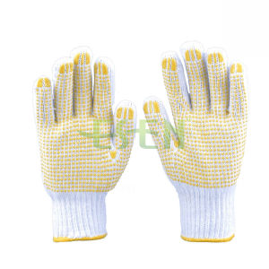 Multiply Used 7/10 Gauge Natural with Cotton Gloves with PVC Dots pictures & photos