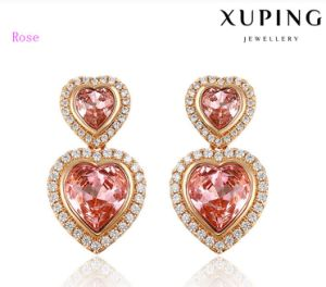 92332 Fashion Luxury Crystal Gold Plated Jewelry Earring Stud in Heart Design pictures & photos