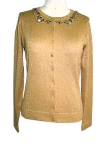 Ladies Knitted Button Cardigan Embroidery Sweater