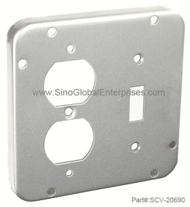 "4-11/16"" Square, 1/2"" Raised Duplex Receptacle and Toggle Switch Industrial Surface Junction Box Cover (SCV-20690)"