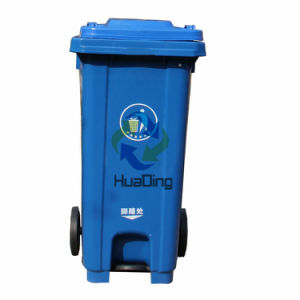 120L Plastic Trash Bin Rubber Wheel Trash Can for Outdoor HD2wnp120c-B pictures & photos