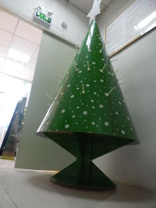 Christmas Tree Cardboard Display for Decoration, Paper Pallet Display Stand with Hooks All Round pictures & photos