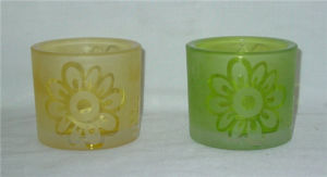 Set of 2 Hand Painting Frosted Glass Candle Holder pictures & photos
