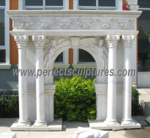 Carved Marble Fireplace for Indoor Stone Sculpture (QY-LS343) pictures & photos