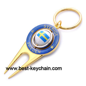 Metal Gold Souvenir OEM Golf Keychain (BK52718) pictures & photos