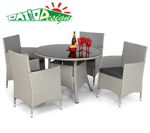 Outdoor Rattan Furniture, 5PCS White Garden Wicker Dining Set - 134da