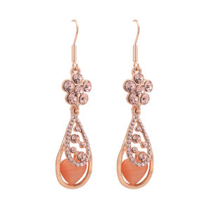 Rose Gold Flower Style Full Rhinestone Fashion Alloy Earring