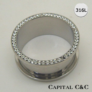 Steel Threaded Clear Gemmed Tunnel