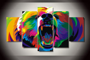 HD Printed Colorful Bears Painting Canvas Print Room Decor Print Poster Picture Canvas Mc-119 pictures & photos