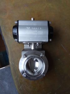 Pneumatic Sanitary Butterfly Valve with Single/Double Acting Pneuamtic Actuator pictures & photos