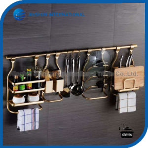 Space Aluminum High-Grade Kitchen Shelf Rack pictures & photos