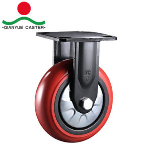 Black Bracket 8 Inch Red PU Wheel Heavy Duty Caster pictures & photos
