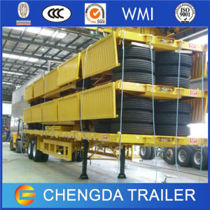 Dropside Container Flatbed Semi Trailer with Twist Locks pictures & photos