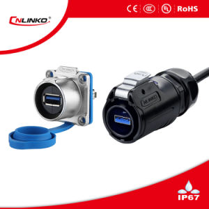 High Quality IP67 USB 3.0 Metal Female Socket Connector pictures & photos