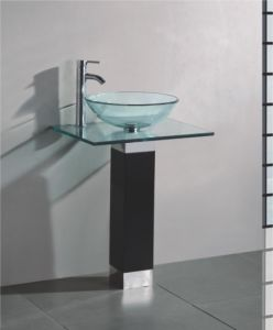 Solid Wood Bracket Glass Wash Basin (7054) pictures & photos