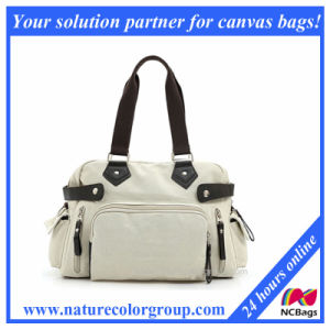 Fashion White Canvas Satchel Handbag for Women pictures & photos
