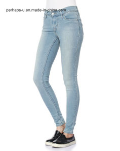 Hot Sale High End Light Blue Thin Slim Waist Denim Jeans pictures & photos