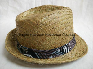 Stained Seagrass Hand Woven Printed Band Fedora Straw Hat pictures & photos