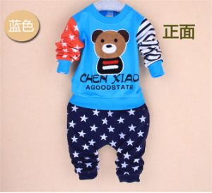 Ks1094 Spring Autumn Baby Boys Cotton Sport Set Long Sleeve Children Sets Bear Shirt+Pants Kids 2 PCS Clothing Set for Wholesale pictures & photos